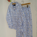 The spring and autumn female blue  Cotton Satin Pajamas
