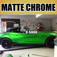 Wysokiej jakości Zielone Jabłko Matte Chrome Film Vinyl Sticker Samochodów Matowy Zielony Chrom Okład Powietrza Darmo Samochód Owijania