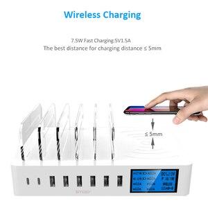 Image 4 - STOD bezprzewodowa ładowarka qi wyświetlacz LED stacja ładowania USB typ C telefon stojak na iphonea XR Samsung Huawei Mate 20 Pro Mi Adapter