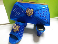 Promotion royal blue shoes and bag matching set royal blue slipper high heel with clutches bag SB8073 with free shipping