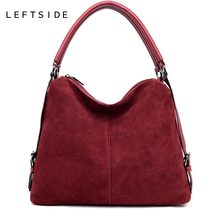 57becf22d838 LEFTSIDE натуральная раздельная замшевая кожаная сумка на плечо для женщин  2018 Женская Повседневная сумка-мессенджер