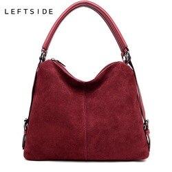 LEFTSIDE Real Split Suede Leather Shoulder Bag For Women 2018 Female Casual Handbag  Messenger Top-handle bags Good Quality