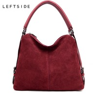 LEFTSIDE Real Split Suede Leather Shoulder Bag For Women 2018 Female Casual Handbag Messenger Top handle bags Good Quality
