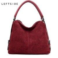 LEFTSIDE Real Split Suede Leather Shoulder Bag For Women 2018 Female Casual Handbag Messenger Top handle bags Good Quality