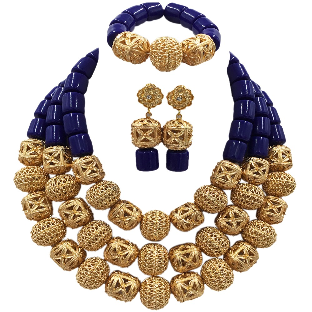 Latest Royal Blue Artificial Coral Nigerian Wedding African Beads Jewelry Set ACB-10 latest yellow and gold beaded artificial coral nigerian wedding african beads jewelry set acb 11