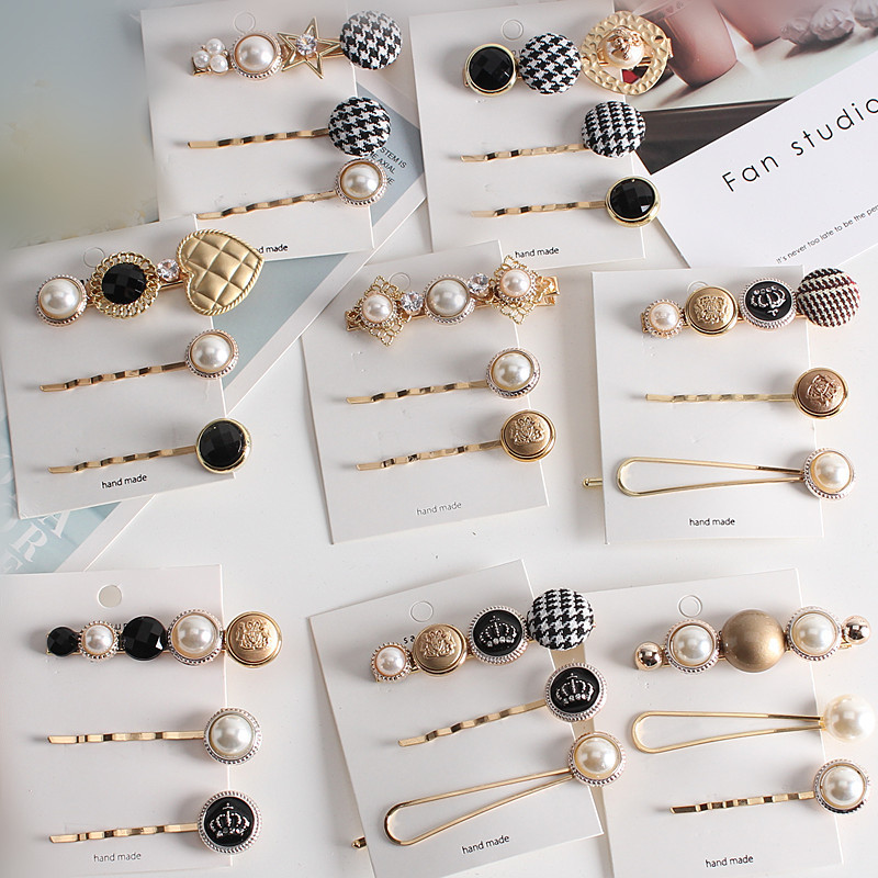 3pcs/1Set Fashion Hair Accessories Houndstooth Button Imitiation Pearl ClipsHoundstooth Metal Crystal