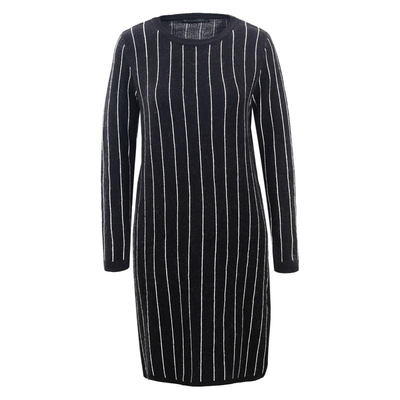Robe Femmes Black Wmy Et Hiver Rayé Femme 2018 grey Bureau story Imprimer 5538 Sweat Tricoté Glo O cou Mini Automne Robes Pull dark Blue n67qW
