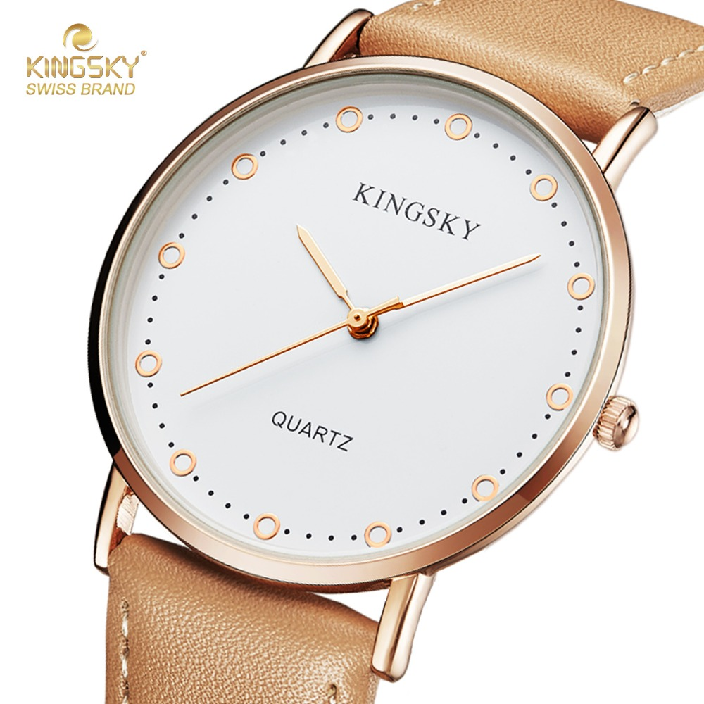 Kingsky Ladiess Watches Top Brand Luxury Leather Strap Analog Quartz Wristwatch Casual Ladies Watches Best Gift relogio feminino new top brand guou women watches luxury rhinestone ladies quartz watch casual fashion leather strap wristwatch relogio feminino