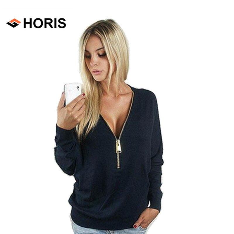 2017 Femmes de Manches Longues T-Shirts Sexy Profonde V Cou Élégant avec  Fermeture Éclair Pull T-shirt Chauve-Souris Manches Femmes Tops Solide H587 e8e02a5428eb