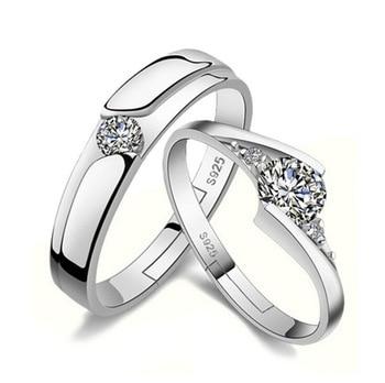 ... Lovers Wedding Rings Anillos 925 sterling silver Setting CZ Diamond  Zircon Eternity Opening Women and Men dac49078c6