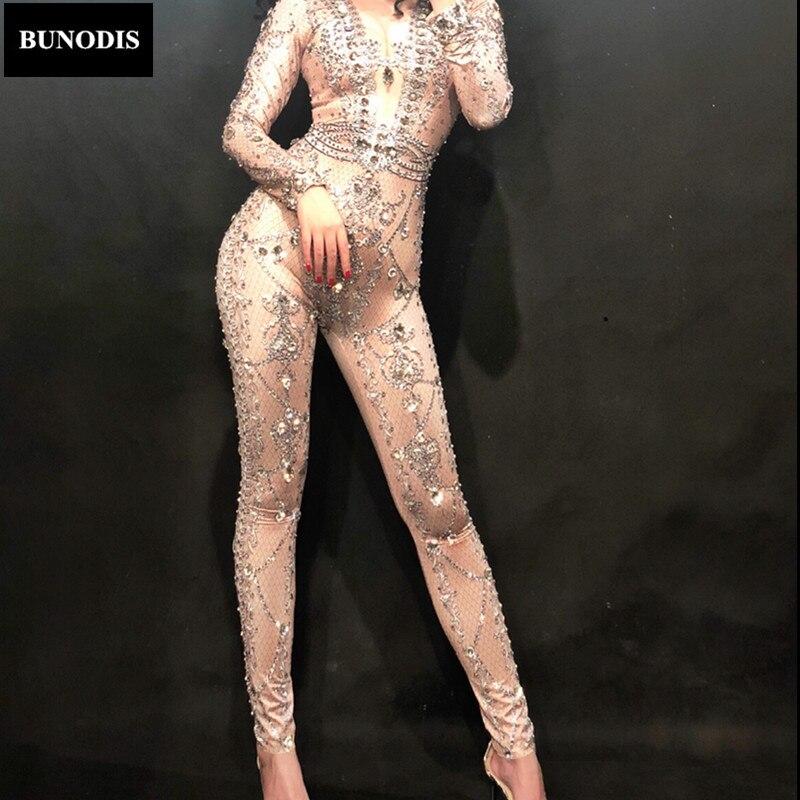 BU191 большой алмаз Для женщин пикантные комбинезон простой Тип Стекло сверкающими кристаллами Боди для ночного клуба вечерние певица танцор...
