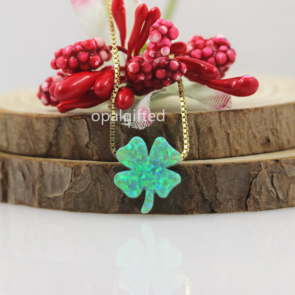 2019 Hot Sale Fancy 12 13mm Green Clover Opal pendant for Spring Festival gift 925 Silver