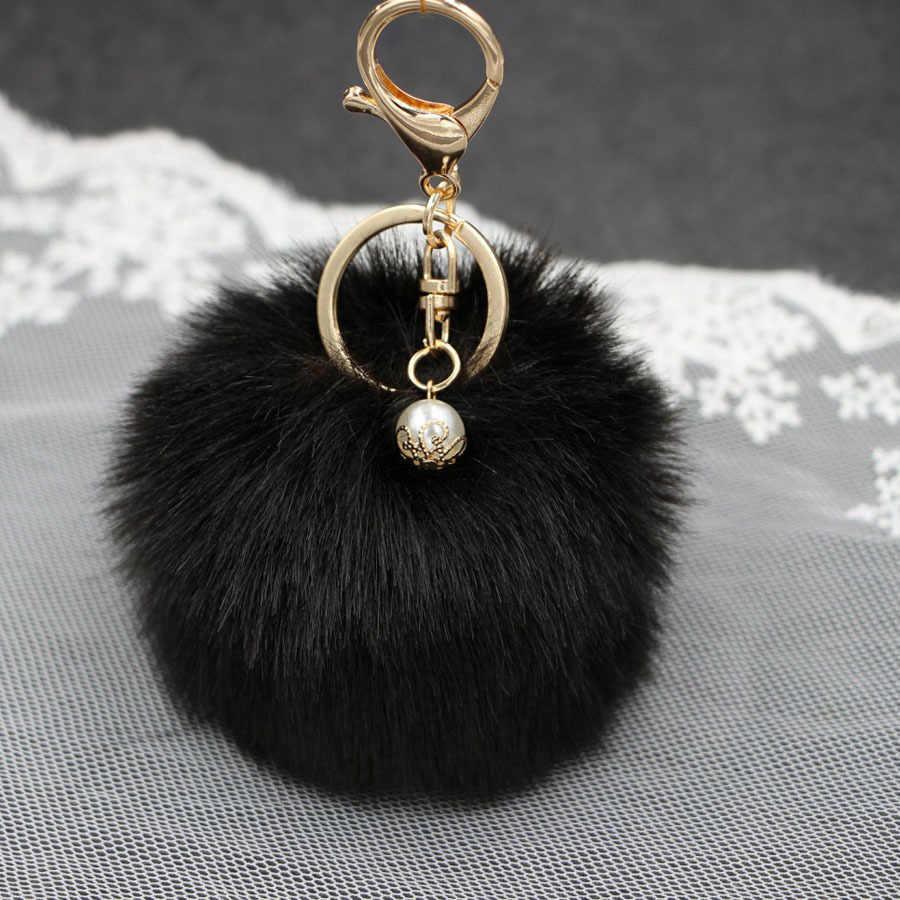 Лидер продаж искусственный жемчуг кролик Мех животных мяч Сумочка с брелоком кольцо плюшевые porte clef искусственный помпон ключ узорная цепь pom кулон