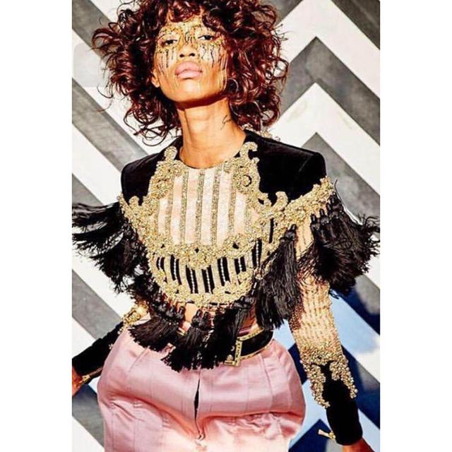 HIGH QUALITY Newest Fashion 2017 Designer Top Women's Long Sleeve Luxury Handwork Beading Tassel Crop Top Tee Shirt
