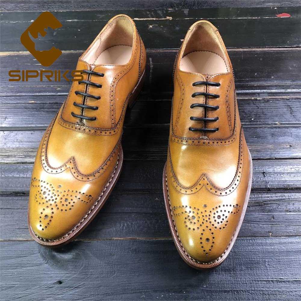 Sipriks marque de luxe importé italie Casl en cuir robe Oxfords Vintage complet richelieu chaussures citron jaune noir affaires Gent costume
