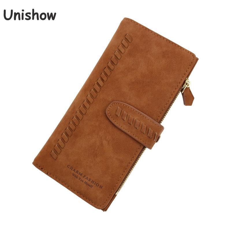 Unishow Matte PU Leather Women Wallet Vintage Long Women Purse Brand Weave Wallet Female Retro Lady Purse Zipper Coin Wallet цена 2017