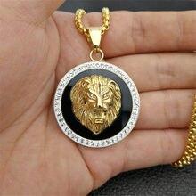 ヒップホップの魅力アイスアウトブリンブリン黄金のライオンヘッドペンダントネックレス男性ゴールドカラーステンレス鋼チェーンの宝石類のギフト男性のための