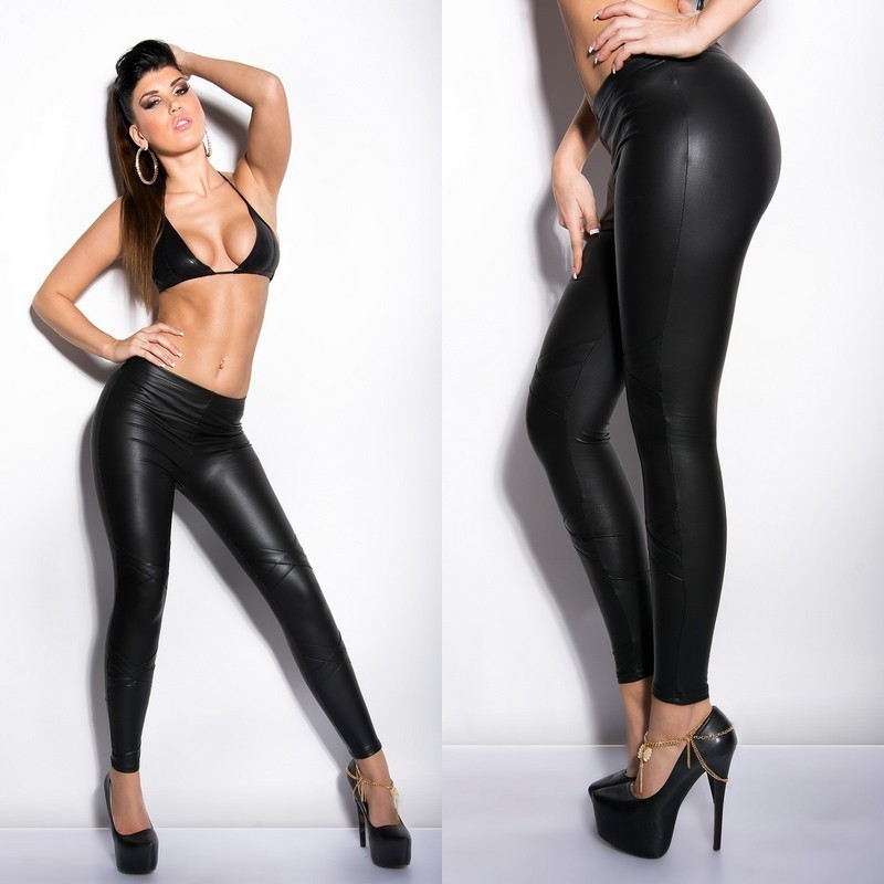This Nude women in leather pants