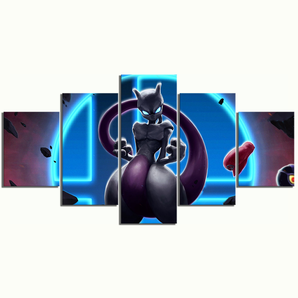 5 Piece HD Mewtwo Pocket Monster Pokemon Game Poster Animation Art Canvas Paintings for Home Decor Cartoon Pictures 3