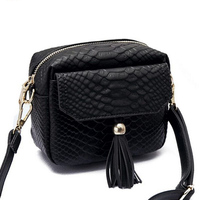 Simple Alligator Crocodile Leather Mini Small Women Crossbody Bag Tassel Fringed Messenger Shoulder Bag Purse Handbag