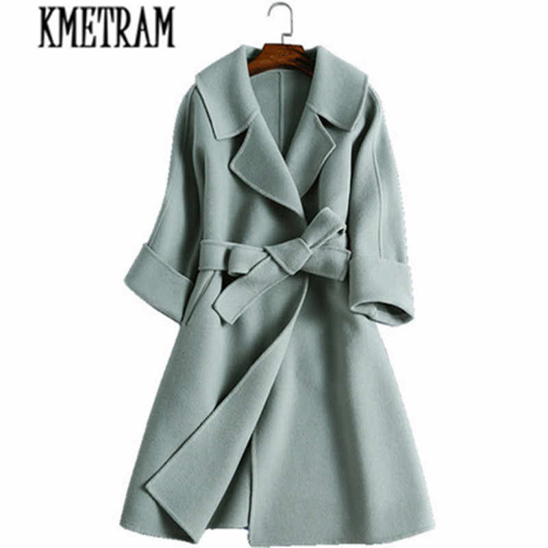d0bb102c4a715 KMETRAM spring and autumn fashion women s cashmere coat real cashmere  overcoat Turn-Down collar slim