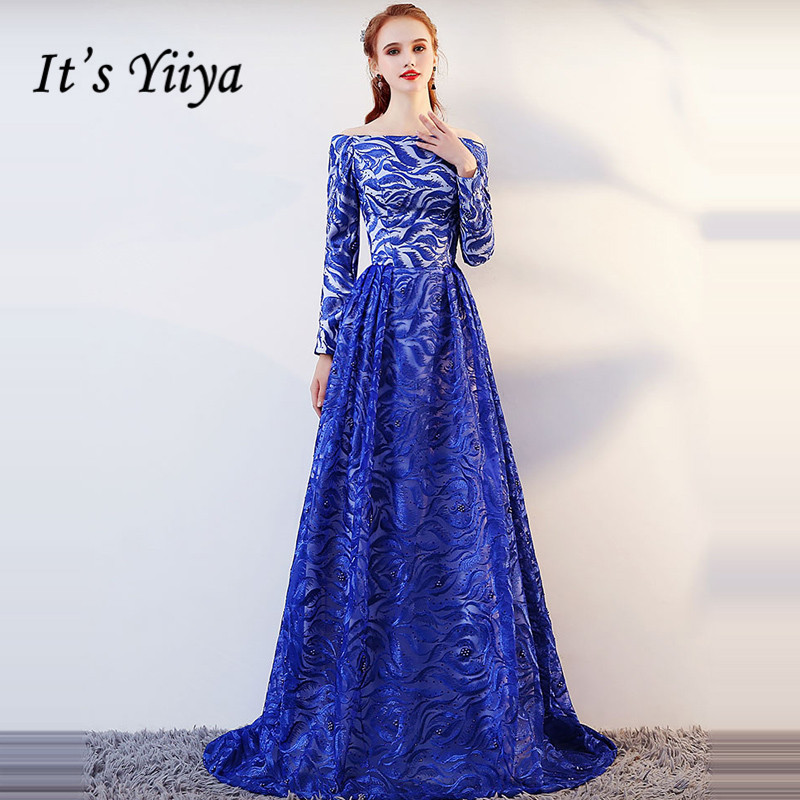 It's YiiYa Evening Dress 2019 Royal Blue Embroidery Small Train Evening Gowns Boat Neck Party Dresses LX1371 Robe De Soiree