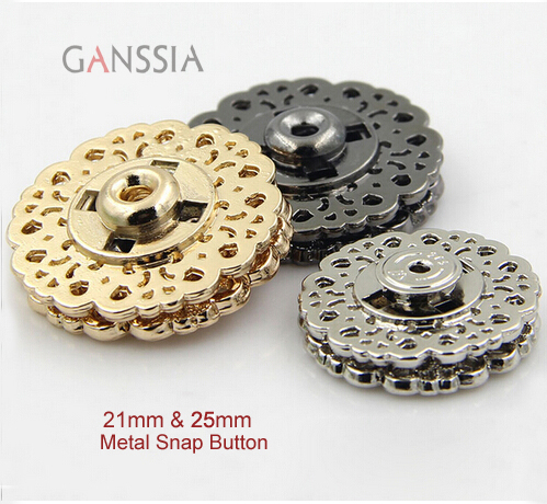 10pcs/lot Size: 18mm 21mm 25mm <font><b>30mm</b></font> Vintage hollow out snap <font><b>buttons</b></font> Sewing snap fastener Plating metal snap for garment(ss-4224) image
