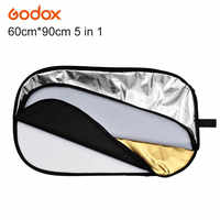"""Original GODOX 5 in 1 Photo Photography Camera Reflector Oval 60x90cm/24"""" x 36"""" Collapsible multi-colored Disc Reflector"""