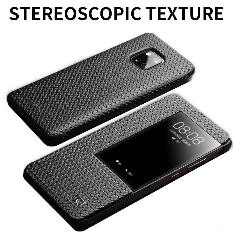 QIALINO Genuine Moda Couro Do Caso Da Aleta para Huawei Companheiro 20 Pro Elegante Negócios Ultra Slim Capa com Smart View para companheiro 20