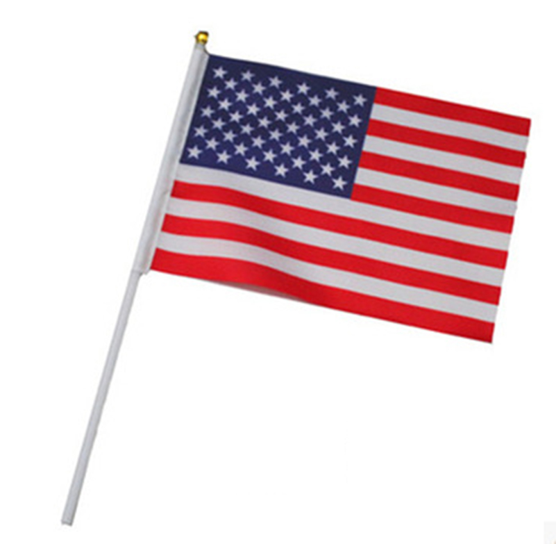 21*14cm American National Flag USA Flying Flag The United States Of America Banner Hand Flags With Plastic Flagpoles 5pcs