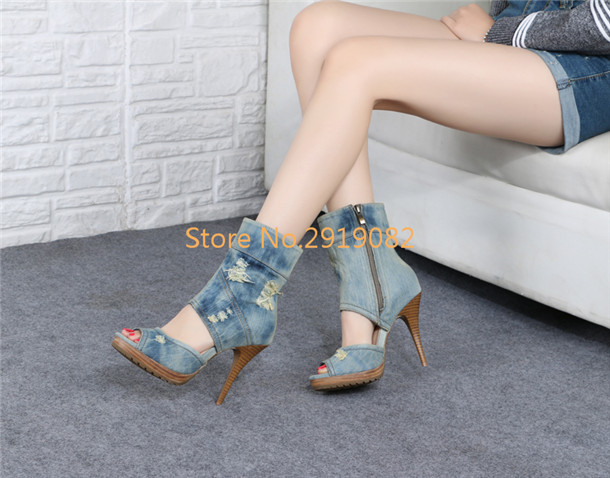 Denim Pattern Pointed Toe Peep Toe Women Sandals Thin High Heel Stilettos Sexy Summer Shoes Zip Opening Super High Party Shoes