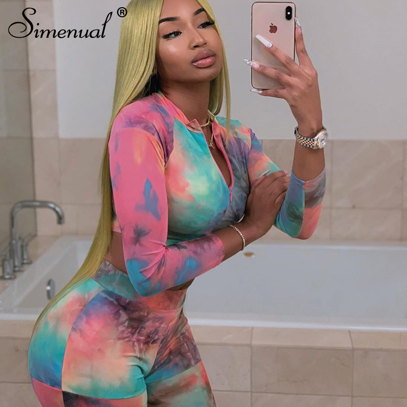 Simenual Tye Die Fitness Active Wear Women Matching Sets Sporty Workout Two Piece Tracksuits Long Sleeve Top And Leggings Set