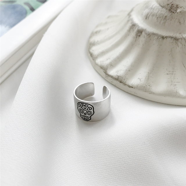 925 STERLING SILVER SUGAR SKULL RING
