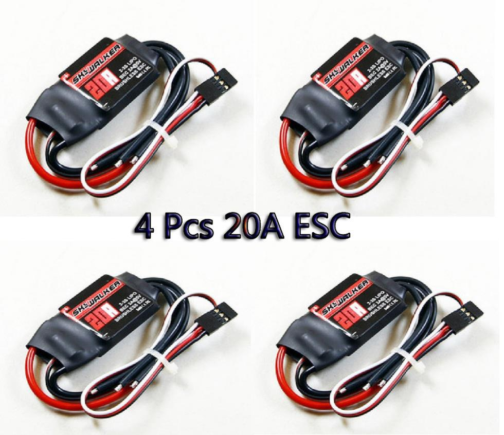 LHM039 4pcs Hobbywing 20A ESC Skywalker Brushless Speed Controller BEC for 4 axis aircraft hobbywing skywalker 20a brushless esc speed controller with ubec