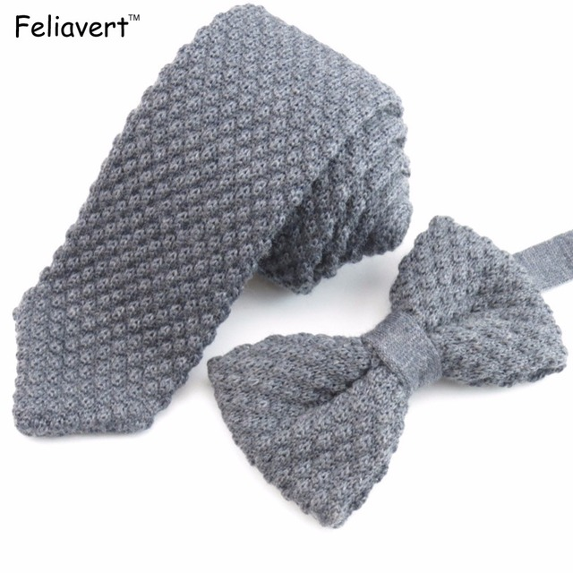 Necktie And Bow Tie Set Luxury Mens Wool Neck Tie Vintage Knit Bow