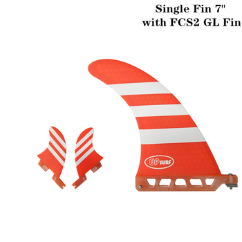 """Surfboard Single Fin 7"""" with FCS2 GL Fins Surf Blue/Red color Surfing Fin 7 Length Surf Longboard Fins"""