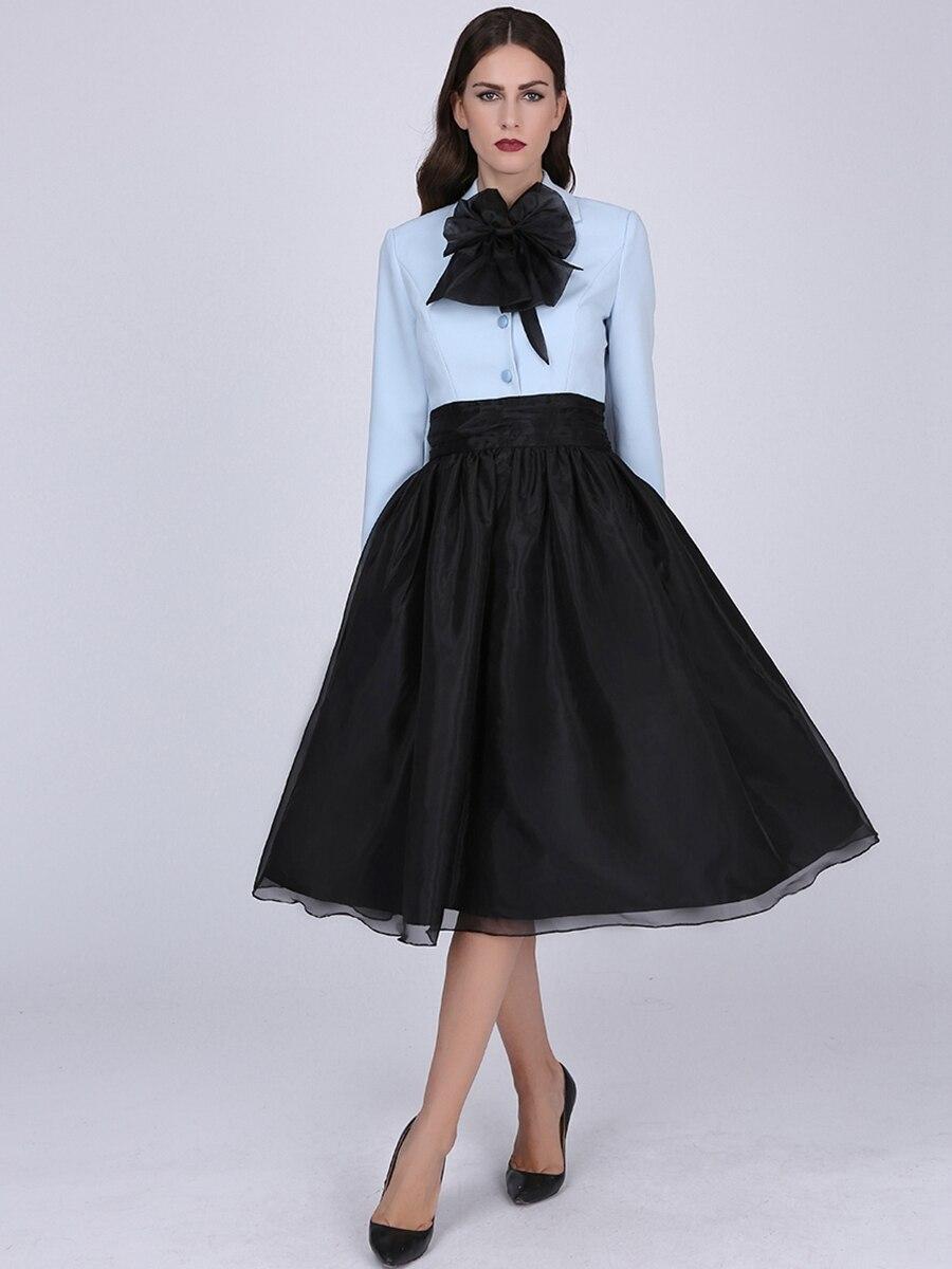 Sisjuly Women Light Blue Pullover Dress Vintage Long Sleeve Girls Dress Women Ruffled Collar Female Knee