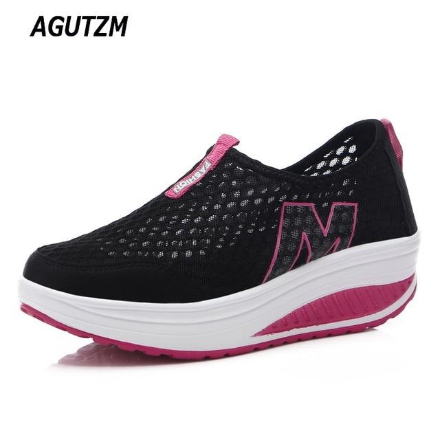 Nuevo calzado para mujer casual deporte moda Zapatos caminar zapatos altura aumento mujeres Mocasines transpirable Air Mesh swing wedges zapatos