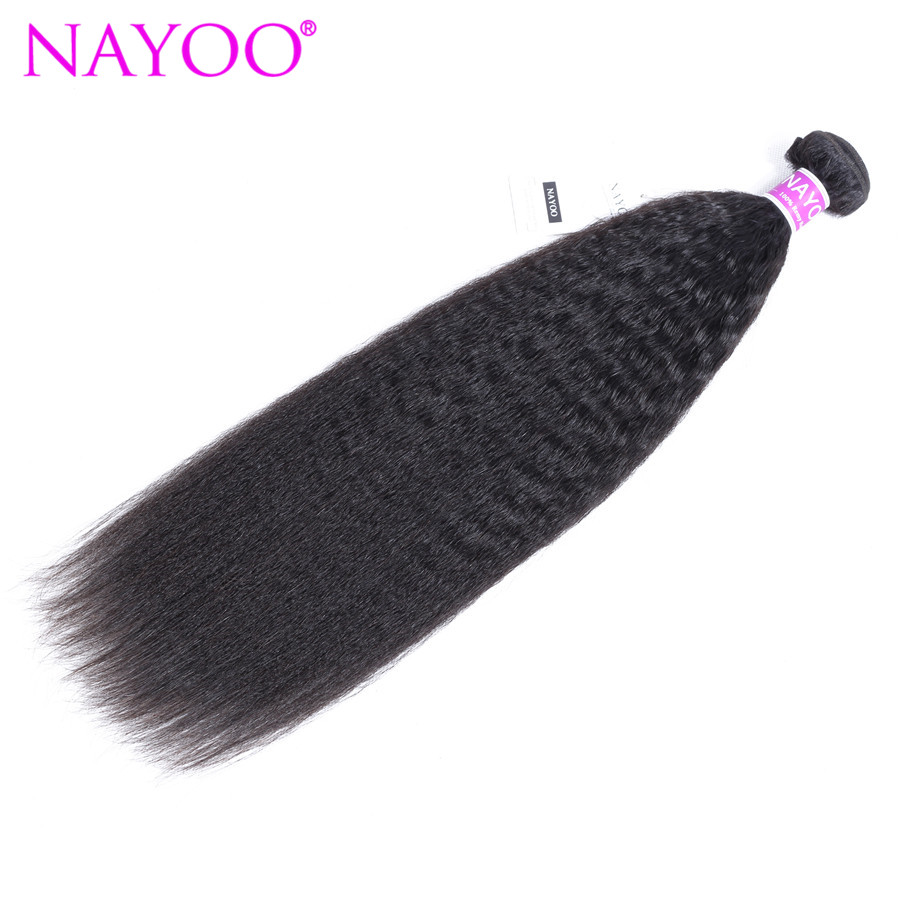 NAYOO Kinky Straight Hair Brazilian Hair Weave Bundles Coarse Yaki 100% Human Hair Bundles Hair Products Remy Extensions