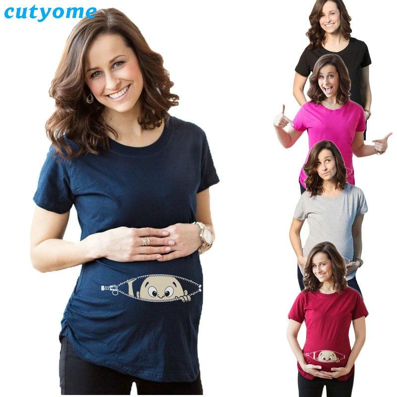 मातृत्व टी शर्ट्स कपास बच्चे मुद्रित लघु आस्तीन ढीला टैंक में सबसे ऊपर महिला टीशर्ट गर्भावस्था टी शर्ट गर्भवती लंबे समय तक स्कर्ट