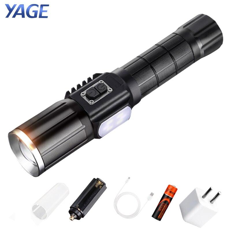 все цены на YAGE Power Supply Hunting Flashlight Touch T6 2000LM Zoom CREE LED Flashlight USB Power Bank Lantern Warning Light 18650 Battery онлайн