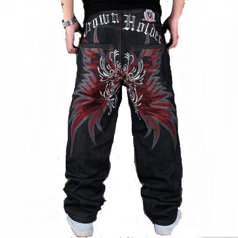 Mens Jeans Hiphop Jeans Man Parkour Casual Jeans Butterfly Embroidery Large Size Men Denim Jeans Loose Long Pants Black