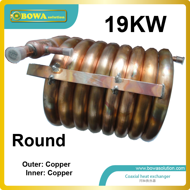19KW outer and inner copper pipe coaxial heat exchanger coils suitable for 61000BTU air conditioner or water chiller with ZR61 28 plates heat exchanger as 14kw evaporator of air source or water source water chiller replace spx plate heat exchanger