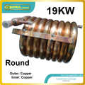 19KW outer and inner copper pipe coaxial heat exchanger coils suitable for 61000BTU air conditioner or water chiller with ZR61