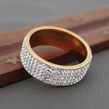 Luxury Stainless Steel Full Rhinestone Rings for Women/Men Gold Color Engagement Anniversary Wide Chunky Female Wedding Jewelry