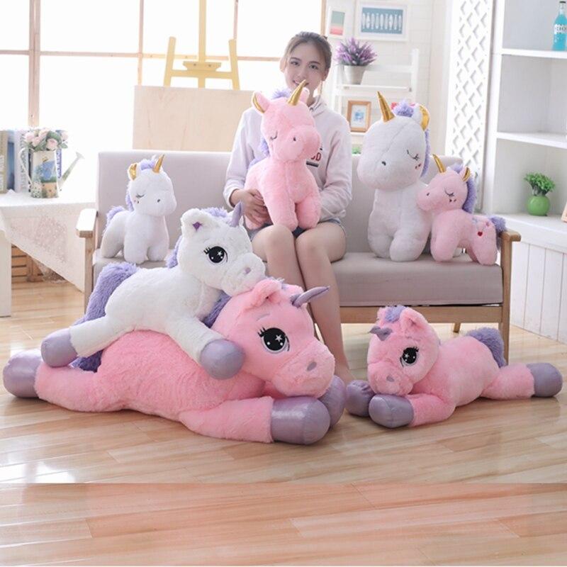 Violet peluche licorne géante jouet rose licorne en peluche oreiller grande taille enfants câlin apaiser jouet lit de couchage poupée jouets pour enfants