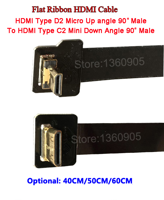 40/50/60CM HDMI Flat Ribbon Soft Flexible Cable TypeC2 Mini Male To Micro TypeD2 Male Up Angle, Shielded Ribbon Cable FPV