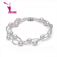 ZJPEARL  2016 new design 6-7mm natural freshwater pearl bracelet  925 sterling silver jewelry fashion buckle  pearl jewelry