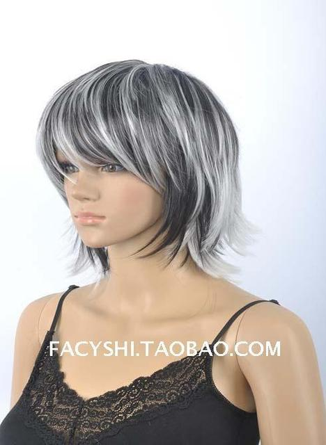 Fs 2015 New Fashion Short Straight Wigs Black And White Gradient
