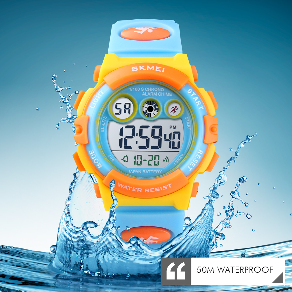 <font><b>SKMEI</b></font> Brand Sport Children Watch Luxury Electronic Watch for Kids Children Boys Girls Gifts Waterproof LED Digital Kids Watches image